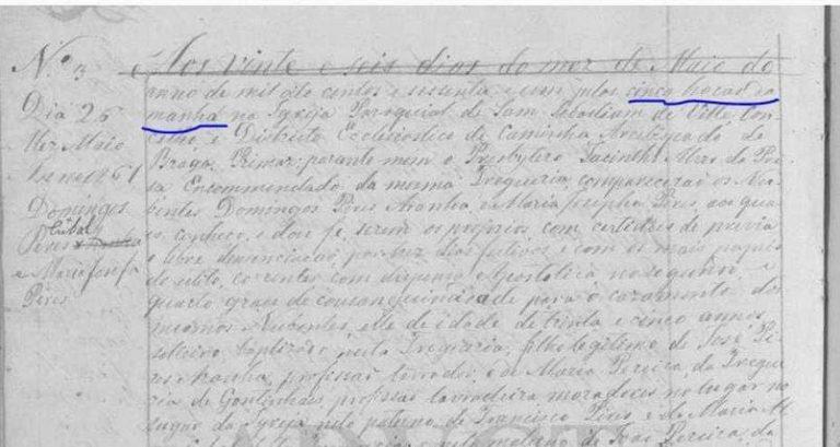 26 mai 1861 mariage célébrer à Riba de Ancora Minho à 5h du matin - extrait retiré de la page Religiosidade do povo em Portugal sur Facebok
